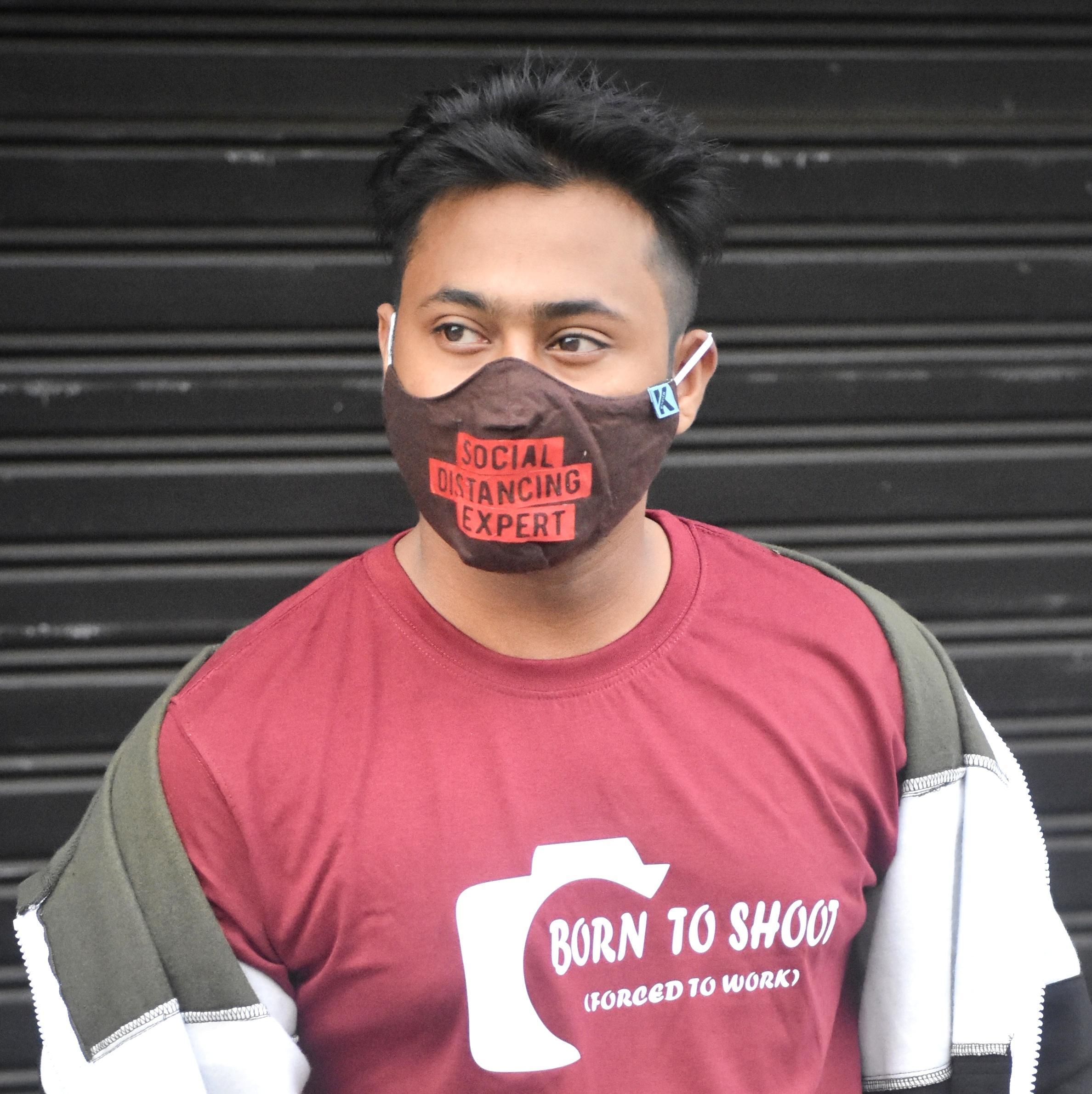 Social Distancing Expert Slogan Mask, Funny Printed Mask at cheap price